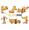 set yellow dog 2018 cartoon vector image vector image