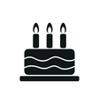 simple black one cake icon on white background vector image vector image