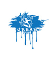 skateboarder make trick on the background of city vector image