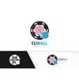 soccer and click logo combination ball and vector image vector image
