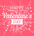 valentines day pink postcard with hearts and vector image vector image