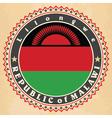 Vintage label cards of Malawi flag vector image vector image