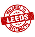 welcome to leeds red stamp vector image vector image