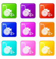 wheelchair icons 9 set vector image vector image