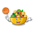 with basketball fruit salad in glass bowl cartoon vector image