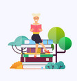 woman sitting on books and reading concept for vector image