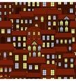 Seamless pattern of european night town vector image