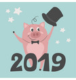 a cute pig is greeting new year vector image vector image