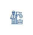 accomplished business mission line icon concept vector image