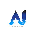 aj a j letter logo design with water effect