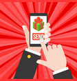 business hand send gift from smartphone vector image