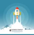 Business startup symbol flat design rocket launch vector image
