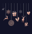 christmas and new year copper decoration ornaments vector image vector image