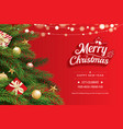 christmas greeting card with tree on red vector image