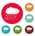 cloud rain snow icons circle set vector image