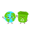 cute happy smiling trash bin and earth planet vector image vector image