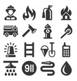 firefighter and fire department icons set vector image