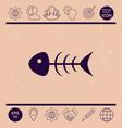 fish skeleton icon vector image vector image