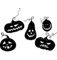 five black pumkins vector image