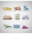 flat retro color stickers - set twelve vector image vector image