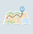 folded maps navigation with red color point vector image