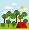forest outdoor camp tent tree sky sun vector image vector image