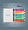 frame photo five items - paper infographic vector image vector image