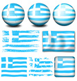 Greece flag in different designs vector image vector image