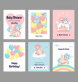 greeting cards with unicorns funny postcards with vector image