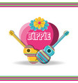 guitar instruments with heart hippie concept vector image vector image
