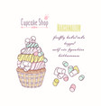 hand drawn cupcake marshmallow flavor vector image vector image