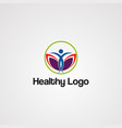 healthy human logo icon element and template vector image vector image