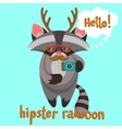 Hipster Raccoon Poster vector image