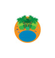 icon with beach and palm trees vector image vector image
