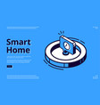 landing page smart home with clock icon vector image