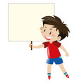 little boy in red shirt holding blank sign vector image vector image