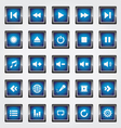 Media square button blue vector image vector image