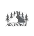 monochrome emblem of mountain and forest vector image vector image