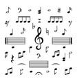 music notes set musical note treble clef vector image
