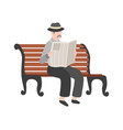 old men reading newspaper outdoor grandfather vector image