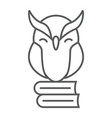 owl on books thin line icon e learning vector image vector image