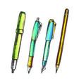 pen pencil and felt-tip marker retro color vector image vector image