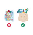 plastic bag vs textile tote pollution and ecology vector image