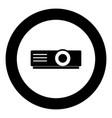 projector icon black color in circle vector image vector image