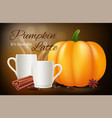 pumpkin spice latte realistic coffee cups vector image