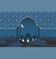 ramadan kareem islamic mosque in desert vector image
