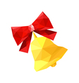 red origami bow with bell vector image vector image
