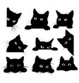 set black cats looking out corner vector image vector image