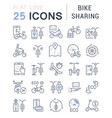 set line icons bike sharing vector image vector image