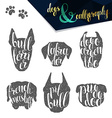 Set names of dog breeds in calligraphy handmade vector image